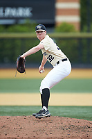 Wake Forest Demon Deacons relief pitcher Chris Farish (32) in action against the Virginia Cavaliers at David F. Couch Ballpark on May 19, 2018 in  Winston-Salem, North Carolina. The Demon Deacons defeated the Cavaliers 18-12. (Brian Westerholt/Four Seam Images)