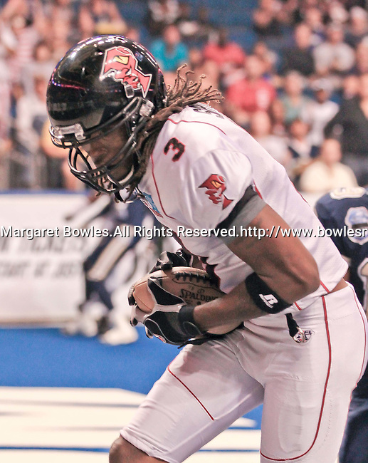 Aug 14, 2010: Orlando Predator wide receiver Bobby Sippio (#3) catches a touchdown pass. The Storm defeated the Predators 63-62 to win the division title at the St. Petersburg Times Forum in Tampa, Florida. (Mandatory Credit:  Margaret Bowles)