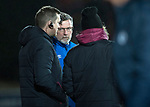 St Johnstone v Hearts&hellip;23.12.17&hellip;  McDiarmid Park&hellip;  SPFL<br />Craig Levein talks with Austin McPhee and John Daly<br />Picture by Graeme Hart. <br />Copyright Perthshire Picture Agency<br />Tel: 01738 623350  Mobile: 07990 594431