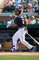 Detroit Tigers outfielder Anthony Gose (12) at bat during an exhibition game against the Florida Southern Moccasins on February 29, 2016 at Joker Marchant Stadium in Lakeland, Florida.  Detroit defeated Florida Southern 7-2.  (Mike Janes/Four Seam Images)