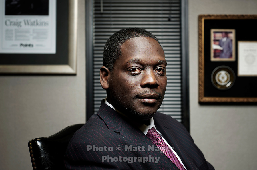Dallas County District Attorney Craig Watkins (cq) at his office in the Frank Crowley Courts Building in Dallas, Texas, Wednesday, February 23, 2011. Watkins has been instrumental in the high numbers of prison exonerees in Dallas, Texas since he arrived in office in 2006...Photo by Matt Nager