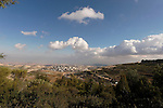 Israel, Jerusalem, A view of the Judean desert from the eastern side of Mount Scopus, the slope of the Mount of Olives is on the right, the Palestinian neighborhood El Azzariya is on the left, Ma'ale Adumim behind it