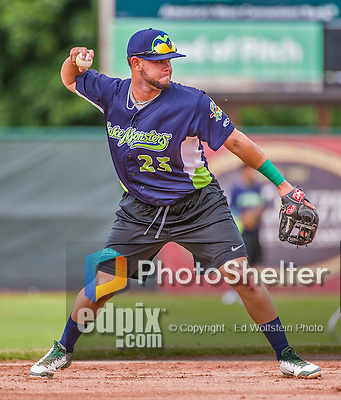 16 June 2014: Vermont Lake Monsters infielder Gabriel Santana warms up prior to a game against the Connecticut Tigers at Centennial Field in Burlington, Vermont. The Lake Monsters fell to the Tigers 3-2 in NY Penn League action. Mandatory Credit: Ed Wolfstein Photo *** RAW Image File Available ****