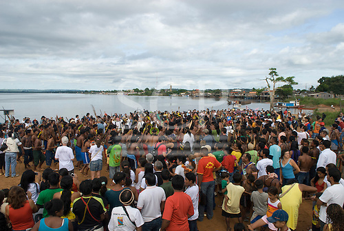 "Altamira, Brazil. ""Xingu Vivo Para Sempre"" protest meeting about the proposed Belo Monte hydroeletric dam and other dams on the Xingu river and its tributaries. Indians and riverine communities against the dams."