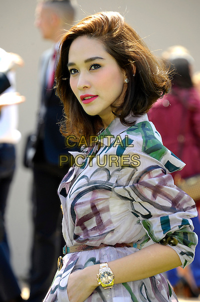 Laila Boonyasak arrives at Burberry Prorsum SS15 during London Collections: Men at Kensington Gardens on June 17, 2014 in London, England.<br /> CAP/CJ<br /> &copy;Chris Joseph/Capital Pictures