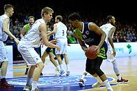 GRONINGEN - Basketbal, Donar - ZZ Leiden, Martiniplaza,  Dutch Basketball League, seizoen 2017-2018, 09-12-2017,  Leiden speler Mohamed Kherrazi  in duel met Donar speler Evan Bruinsma