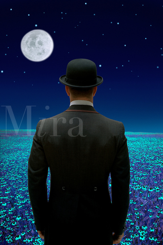 Digital illustration of a man in a bowler hat in a moonlit field.