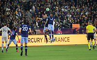 CARSON, CA - MARCH 07: Ali Adnan #53 and Tosaint Ricketts #87 of the Vancouver Whitecaps leap high for a ball during a game between Vancouver Whitecaps and Los Angeles Galaxy at Dignity Health Sports Park on March 07, 2020 in Carson, California.