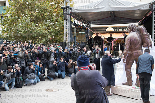 First ever life-size bronze statue of Italian actor Carlo Pedersoli better known as Bud Spencer inaugurated in Budapest, Hungary on Nov. 11, 2017. ATTILA VOLGYI