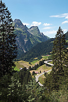 Austria, Vorarlberg, Bregenzerwald, Schroecken: village at Bregenzerwald Road with Widderstein mountain (2.533 m)