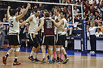27 APR 2014: Springfield College reacts to a point against Juniata College during the Division III Men's Volleyball Championship held at the Kennedy Sports Center in Huntingdon, PA. Springfield defeated Juniata 3-0 to win the national title.  Mark Selders/NCAA Photos