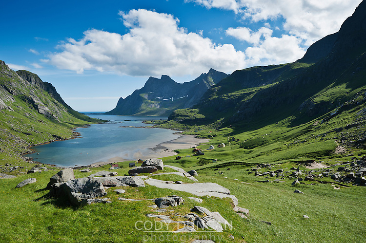 View toward villages of Vindstad and Bunesfjorden, Moskenesoya, Lofoten islands, Norway