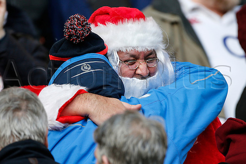 03.12.2016. Twickenham, London, England. Autumn International Rugby. England versus Australia.  Santa greets a friend before the match.   Final score: England 37-21 Australia.