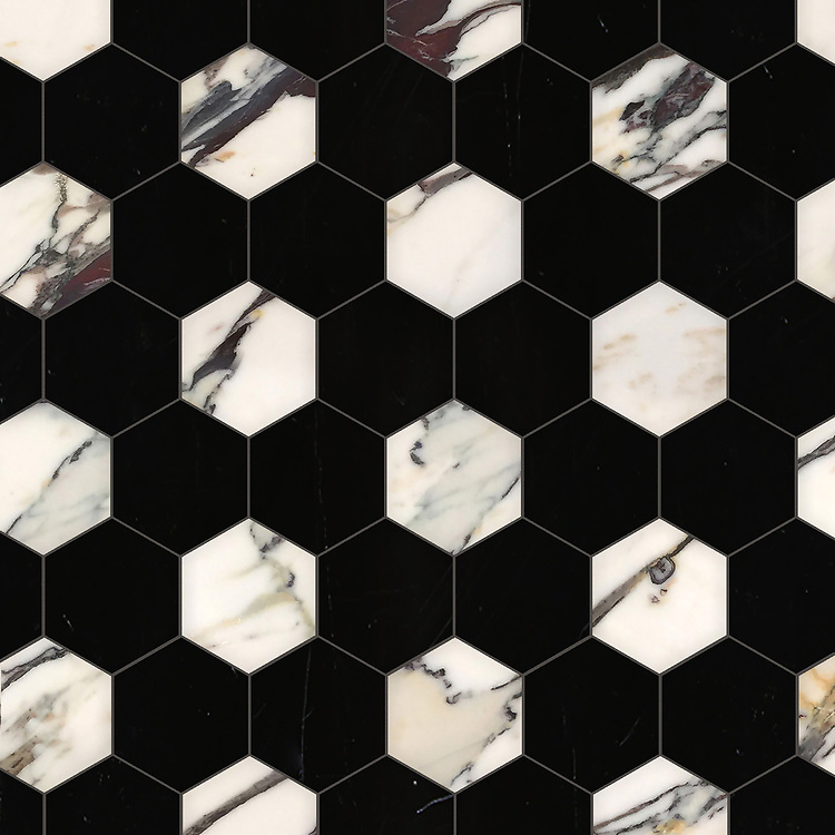 Hex, a waterjet stone mosaic, shown in polished Plumeria and Nero Marquina, is part of the Semplice® collection for New Ravenna.