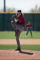 Arizona Diamondbacks relief pitcher Connor Grey (16) prepares to deliver a pitch during a Minor League Spring Training intrasquad game at Salt River Fields at Talking Stick on March 12, 2018 in Scottsdale, Arizona. (Zachary Lucy/Four Seam Images)