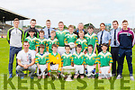 The Boherbue NS team that participated in the Killarney Garda primary schools football blitz in Fitzgerald Stadium on Thursday front row l-r: Garda brendan McMahon, David Kenny, Cormac Hartnett, Evan Enright, Shane O'Riordan, Donal Murphy, Dan Sheehan. Back row: aidan Linehan, Ben Guiney, Fionn O'Hanlon, Donal Casey, Liam Moynihan, Anthony O'Connor and Senan Murphy. Back row: Jonathan lyne, Brian Murphy, Garda Mike Milner, Garda Siobhain Cussen, Garda Eddie Walsh and James O'Donoghue