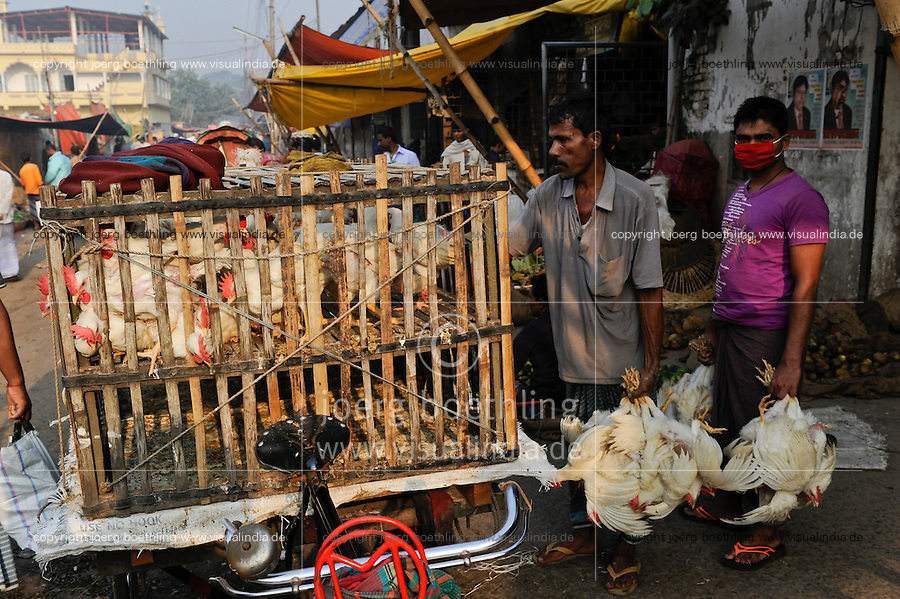 BANGLADESH Dhaka, mobile chicken shop on bicycle rikshaw / BANGLADESCH Dhaka, mobiler Gefluegel Laden auf Fahrradrikscha