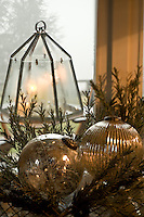 Close up of vintage Christmas baubles in mercury glass
