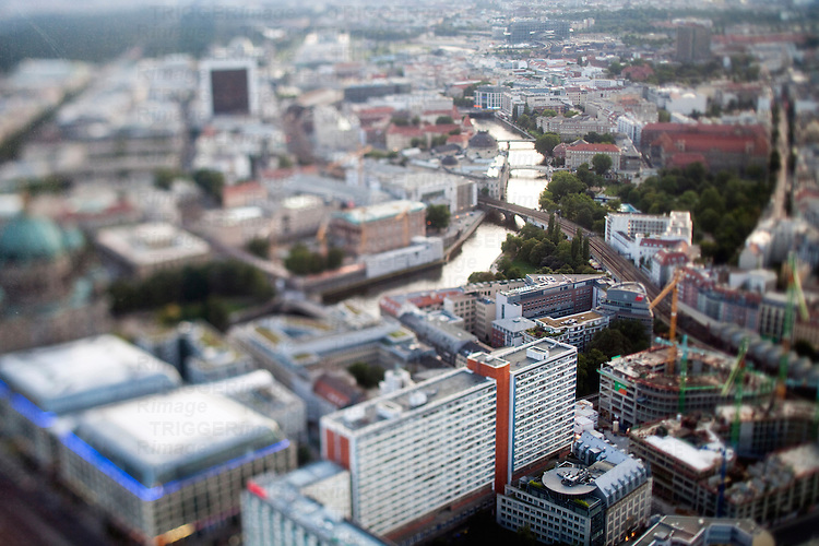 Aerial view from the TV Tower of the Monbijoupark and the Spree river, Berlin, Germany. Tilted lens used for a shallower depth of field and to create, combined with the aerial view, a miniaturization effect.