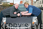 WINNER: Tralee postman Richard O'Halloran receiving the keys of his new car from Mary Byrne, Wages Clerk after winning the An Post Credit Union draw.   Copyright Kerry's Eye 2008