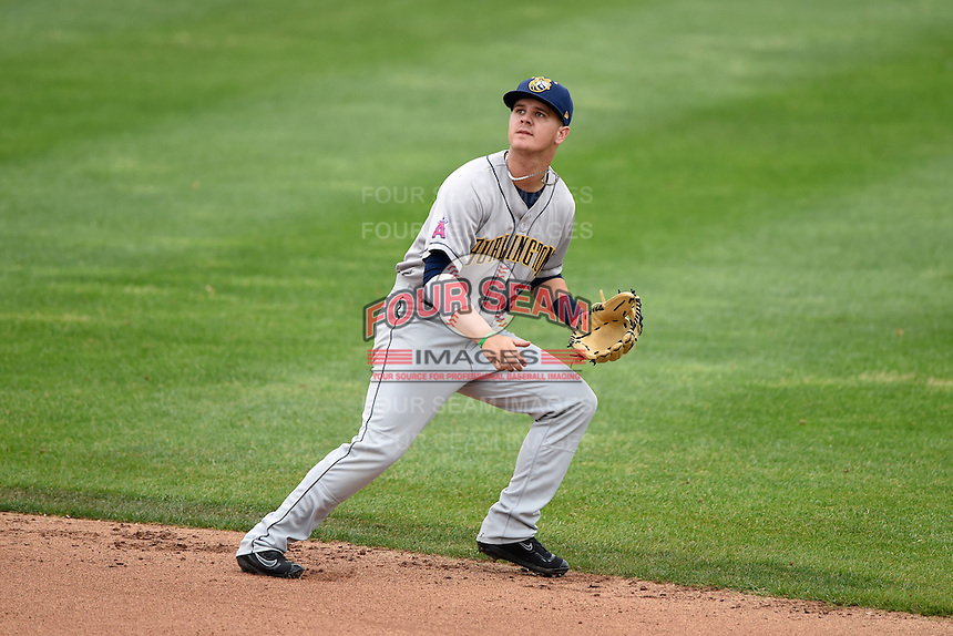Burlington Bees second baseman Brendon Sanger (23) during a game against the Quad Cities River Bandits on May 9, 2016 at Modern Woodmen Park in Davenport, Iowa.  Quad Cities defeated Burlington 12-4.  (Mike Janes/Four Seam Images)