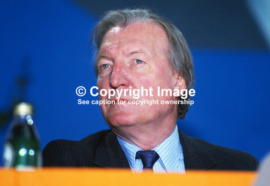 Charles Haughey, leader, Fianna Fail, Rep of Ireland, on the platform during his political party's annual conference in Dublin. 19860407CH1.<br />