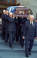 FILE PHOTO - <br /> Pierre Bourgault<br /> funerals, June 16, 2003 at <br /> Notre Dame<br /> Basilica<br /> <br /> <br /> PHOTO : Agence quebec Presse