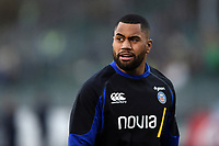 Joe Cokanasiga of Bath Rugby looks on during the pre-match warm-up. Gallagher Premiership match, between Bath Rugby and Sale Sharks on December 2, 2018 at the Recreation Ground in Bath, England. Photo by: Patrick Khachfe / Onside Images