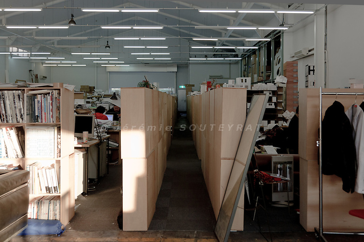 Tokyo, December 9 2010 - In the design office of SANAA 's architects Kazuo Sejima and Ryue Nishizawa, in the Koto district. Separation between SANAA and Sejima's design office (left) and Nshizawa's design office (right).