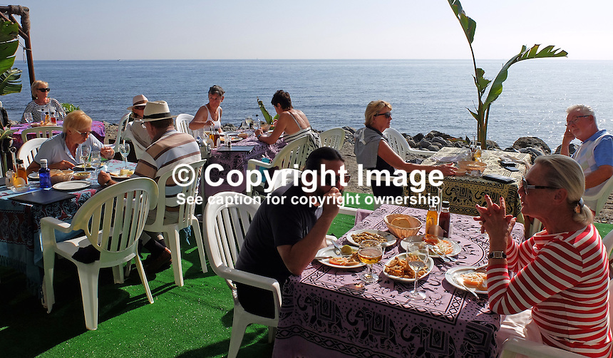 Chiringuito, beach restaurant, alfresco, dining, San Pedro de Alcantara, Marbella, Spain, November, 2015, 201511171820<br />