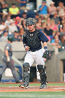 Stryker Trahan (40) of the Hillsboro Hops in the field at catcher during a game against the Boise Hawks at Ron Tonkin Field on August 22, 2015 in Hillsboro, Oregon. Boise defeated Hillsboro, 6-4. (Larry Goren/Four Seam Images)