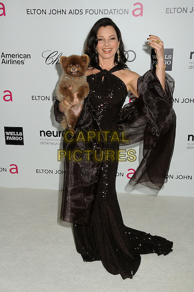 Fran Drescher.20th Annual Elton John Academy Awards Viewing Party held at West Hollywood Park, West Hollywood, California, USA..February 26th, 2012.oscars full length brown dress carrying holding dog animal pet sequins sequined hand arm.CAP/ADM/BP.©Byron Purvis/AdMedia/Capital Pictures.
