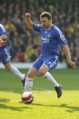 31 March 2007: Chelsea striker Andriy Shevchenko with the ball during the Premiership game between Watford and Chelsea , played at Vicarage Road. Chelsea won the match 1-0. Photo: Actionplus....060820 football soccer coach