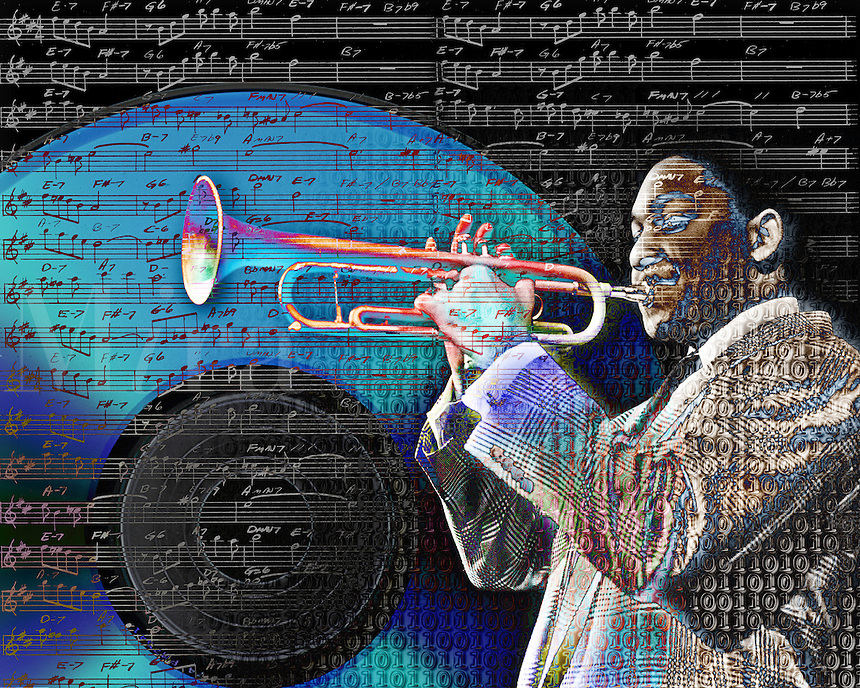 Conceptual image of musician Wynton Marsalis, with ones and zeros superimposed over him, playing his trumpet as the numbers merge with musical notes across a CD. Concept - musical transition from analog to digital.