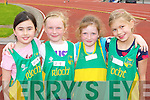 Jane Lawlor, Ava Healy-Brennan, Aoife Walsh and Olga O'Sullivan at the Gneeveguilla AC open athletics meet in Castleisland on Sunday..
