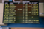 Departures electronic airport information board, Rhodes, Greece