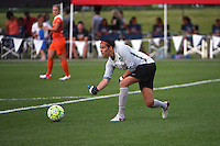 Kansas City, MO - Saturday May 07, 2016: Houston Dash goalkeeper Lydia Williams (18) distributes the ball against FC Kansas City during a regular season National Women's Soccer League (NWSL) match at Swope Soccer Village.