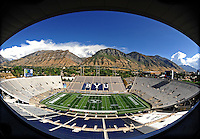 Sept. 19, 2009; Provo, UT, USA; Overall view of LaVell Edwards Stadium prior to the game between the BYU Cougars against the Florida State Seminoles. Mandatory Credit: Mark J. Rebilas-