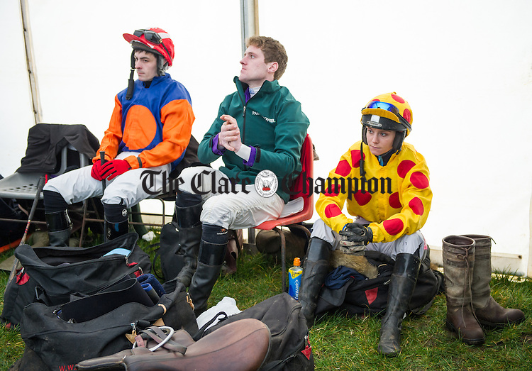 Jockeys AJ Flaherty, William Mc Mahon and Maxine O Sullivan wait for their call at  the County Clare Hunt Point-to Point races in Bellharbour. Photograph by John Kelly