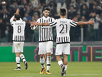 Calcio, semifinali di andata di Coppa Italia: Juventus vs Inter. Torino, Juventus Stadium, 27 gennaio 2016.<br /> From left, Juventus&rsquo; Claudio Marchisio, Alvaro Morata and Paulo Dybala celebrate at the end of the Italian Cup semifinal first leg football match between Juventus and FC Inter at Juventus stadium, 27 January 2016. Juventus won 3-0.<br /> UPDATE IMAGES PRESS/Isabella Bonotto