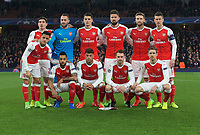 The Arsenal team before the UEFA Champions League round of 16 match between Arsenal and Bayern Munich at the Emirates Stadium, London, England on 7 March 2017. Photo by Alan  Stanford / PRiME Media Images.