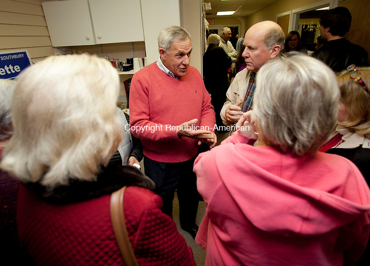 SOUTHBURY, CT-5November 2013-110513BF06- Southbury First Selectman Ed Edelson, middle, greets supporters at Democratic Headquarters in Southbury after being re-elected Tuesday night.  Bob Falcetti Republican-American