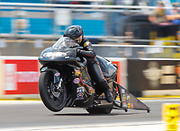 Jun 2, 2019; Joliet, IL, USA; NHRA pro stock motorcycle rider Jianna Salinas during the Route 66 Nationals at Route 66 Raceway. Mandatory Credit: Mark J. Rebilas-USA TODAY Sports