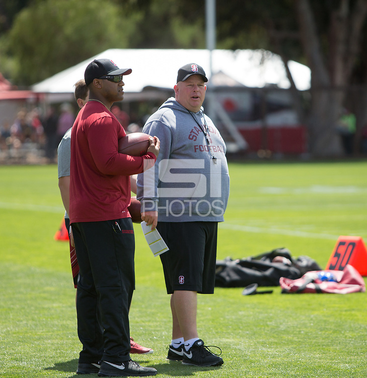 Stanford, CA - April15, 2017:  Coach Lance Anderson at Cagan Stadium.