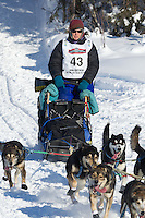 Karin Hendrickson on Long Lake at the Re-Start of the 2012 Iditarod Sled Dog Race