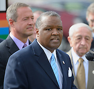 "September 19, 2011 (New Carrollton, MD)  Rushern Baker, Prince George's County Executive (center), joined Maryland Governor Martin O'Malley (left),  Andrew C. Hanko, Mayor of New Carrollton, MD, and Lt. Governor Anthony G. Brown (not pictured), in announcing the relocation of the Maryland Department of Housing and Community Development (DHCD) from its current location in Crownsville, Maryland, to a site in New Carrollton, Maryland.  The new site, called ""Metroview,"" will locate DHCD's headquarters in a new, retail, residential, and mixed-use facility. When completed, it will also be convenient to the Purple Line light rail, and is anticipated to generate a net public benefit (to both the State and County) of over $11 million over the course of the 15-year lease and create an estimated 300 jobs in its construction and an additional 80 retail jobs.     (Photo by Don Baxter/Media Images International)"