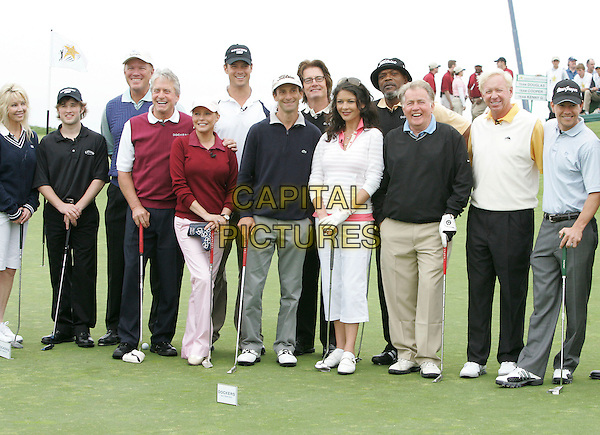 HALEY JOEL OSMENT, CHERYL LADD, JOSH DUHAMEL, KYLE MacLACHLAN, CATHERINE ZETA-JONES, SAMUEL L. JACKSON, MARTIN SHEEN, MICHAEL DOUGLAS & MARK WAHLBERG.Attends The 9th Annual Michael Douglas & Friends Celebrity Golf Tournament held at The Trump National Golf Club in Rancho Palos Verdes, California, USA. .April 29th, 2007.sport full length putter baseball cap hat grey gray  trousers black .CAP/DVS.©Debbie VanStory/Capital Pictures