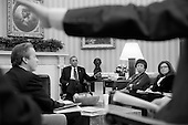United States President Barack Obama listens to Senior Advisor Dan Pfeiffer during a meeting in the Oval Office, March 1, 2013. Seated, from left, are: National Economic Council Director Gene Sperling; Senior Advisor Valerie Jarrett; and Alyssa Mastromonaco, Deputy Chief of Staff for Operations. .Mandatory Credit: Pete Souza - White House via CNP