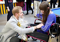 11 April 2019 - Prince Harry, Duke of Sussex meets a wellwisher during the official opening of the Barking & Dagenham Future Youth Zone in Dagenham, England.  The facility is created by the Charity OnSide Youth Zones and is the first of three facilities expected to open in 2019, which will provide a safe environment where young people can come and enjoy themselves, build key skills and raise their aspirations and confidence to create a happier and healthier generation. Photo Credit: ALPR/AdMedia