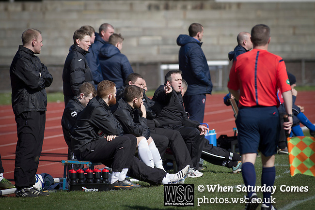 Edinburgh City v Spartans, 11/04/2015. Commonwealth Stadium, Scottish Lowland League. Home team manager Gary Jardine points out instructions at the Commonwealth Stadium at Meadowbank during the Scottish Lowland League match between Edinburgh City and city rivals Spartans, which was won by the hosts by 2-0. Edinburgh City were the 2014-15 league champions and progressed to a play-off to decide whether there would be a club promoted to the Scottish League for the first time in its history. The Commonwealth Stadium hosted Scottish League matches between 1974-95 when Meadowbank Thistle played there. Photo by Colin McPherson.